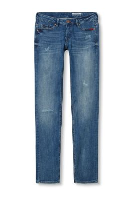 Used-Stretch-Jeans mit Stitchings