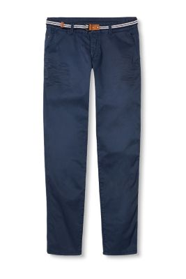 Stretch cotton chinos with belt