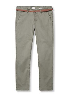 Belted stretch cotton chinos