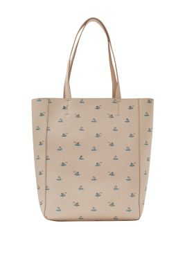 Swan print imitation leather shopper