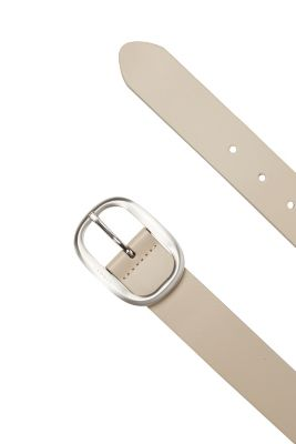 Smooth leather belt + satined buckle