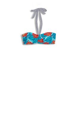 Hibiscus print padded bandeau top