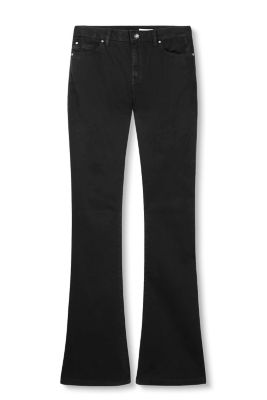 Stretch cotton flared trousers