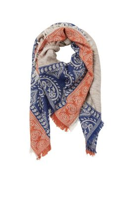 Scarf with jacquard borders, cotton blend