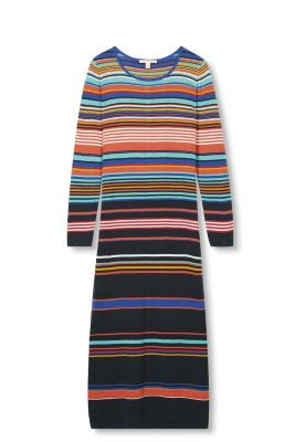 Multi-coloured knitted dress, 100% cotton