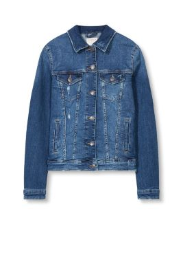 Denim jacket with worn effects and stretch