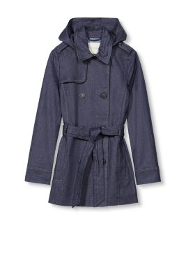 Kurzer Trenchcoat aus Stretch-Denim