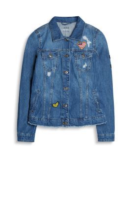 Distressed denim jacket + patches