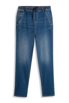 Softe Used-Denim mit Gummizugbund