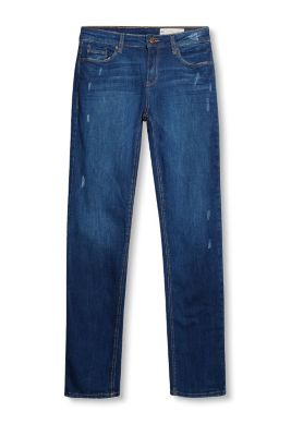 Stretch-Denim mit Used-Effekten