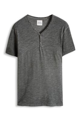 Washed Jersey Henley, Baumwolle
