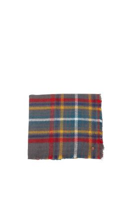Checked, woolly woven scarf