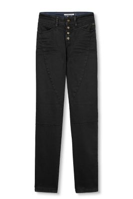 Button-fly stretch trousers