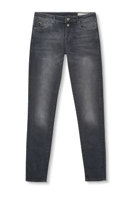 Stretchy jeans with buttons and a zip