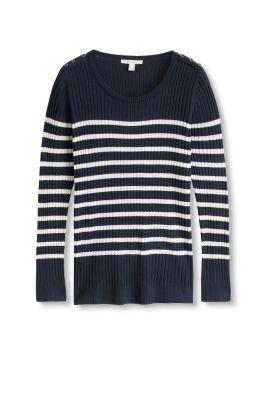 Striped ribbed jumper with buttons