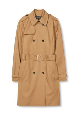 Trench-coat satiné à boutons