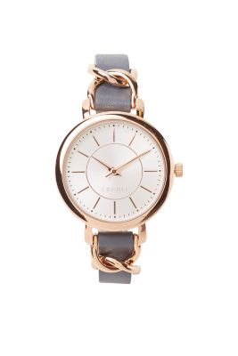 Rose gold watch with thin leather strap