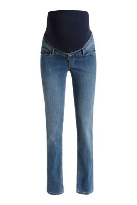 Stretch jeans + above-bump waistband