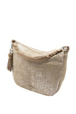 Esprit / Leren hobo bag met een metallic look