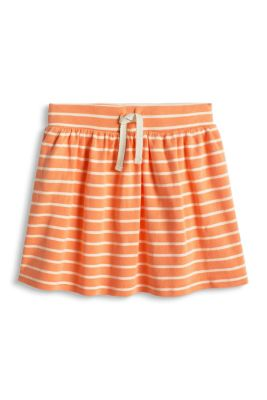 Esprit / Jersey skirt with stripes, 100% cotton