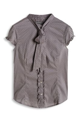 Esprit / Airy cotton blouse with neck ties