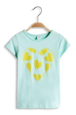 Esprit / T-shirt en coton à motif cœurs chatoyant