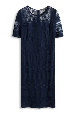 Esprit / Kleid aus weicher Spitze mit Streifenmuster