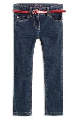 Esprit / Dunkle Stretch-Jeans mit Glanz-Gürtel