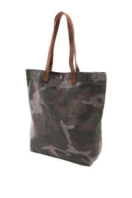 Esprit / Baumwoll-Shopper mit Lederhenkeln