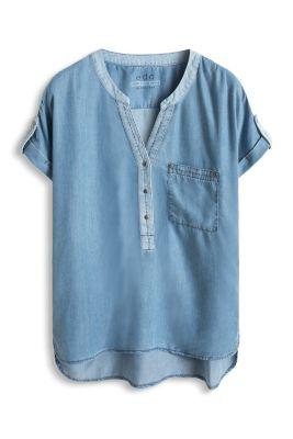 Esprit / Denim-Bluse aus fließendem Lyocell