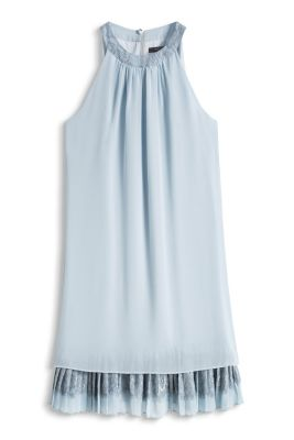 Esprit / Layered georgette dress with lace