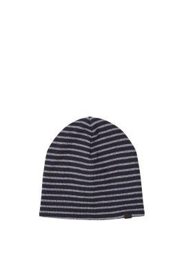 Esprit / Gestreifte Ripp-Mütze aus Baumwolle