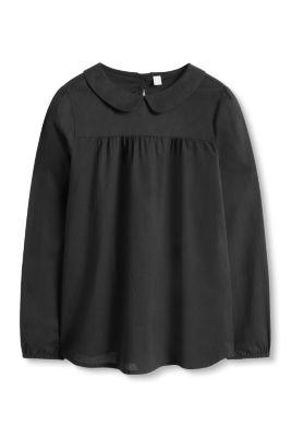 Esprit / Bluse mit Bubi-Kragen, 100% Baumwolle