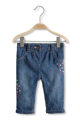 Esprit / Bestickte Jeans, Jersey-Futter, Verstellbund